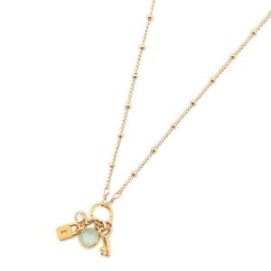 【LE JOUR ル ジュール】 【DOGEARED】lock and key, blue chalcedony bezel cluster necklace ゴールド レディース