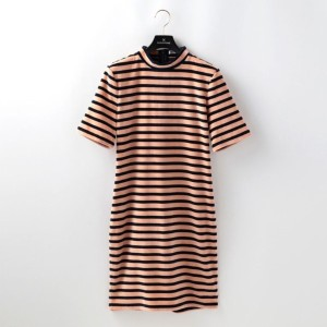 SALE【ギルドプライム(GUILD PRIME)】 【T-by ALEXANDER WANG】WOMENS ボーダーワンピース-MOCK NECK DRESS 4C276417C2- ピンク