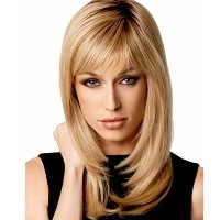 B-G Charming Women Blonde Long Straight Heat Resistant Natural Wigs As Real Hair + A Free Wig Cap...