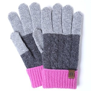 iTouch Gloves アイタッチグローブ Cable Block タッチパネル対応 手袋 LGrey×DGrey×Pink iTG-016-B-GY×PK/FREE