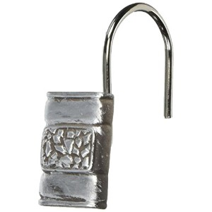 Carnation Home Fashions Seneca Resin Shower Curtain Hooks, Silver, Set of 12 by Carnation Home...