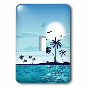 3drose LSP _ 235878_ 1A Pretty Tranquil Sea Side With Palm Treesすべてブルー単一の切り替えスイッチ