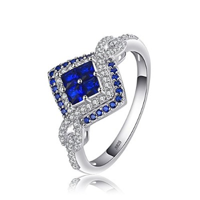 jewelrypalace Sparkling Square 0.62CT CreatedブルーSpinelリング925スターリングシルバー