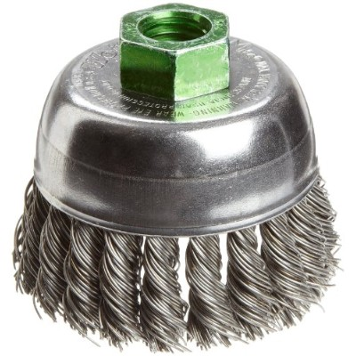 Weiler Wire Cup Brush, Threaded Hole, Steel, Partial Twist Knotted, Single Row, 2-3/4 Diameter, 0...
