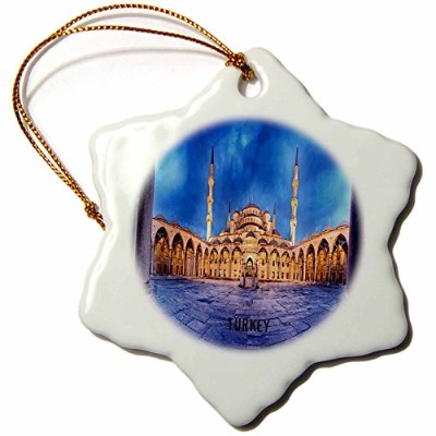 3dローズFlorene Worldsエキゾチックスポット – Blue Mosque in Istanbul Turkey – Ornaments 3 inch Snowflake...