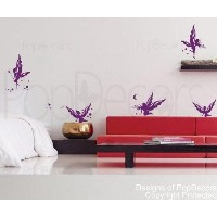 PopDecors - Butterfly Fairies - Custom Beautiful Tree Wall Decals for Kids Rooms Teen Girls Boys...