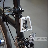 Matt Silver CNC front carrier block for Brompton Folding Bike - Dino Kiddo