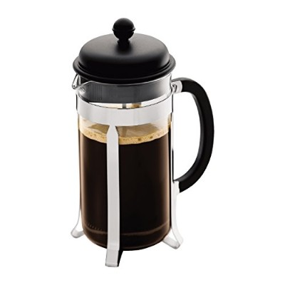 Bodum Caffettiera French Press Coffee Maker, Black Plastic Lid and Stainless Steel Frame, 8-Cup, 34...