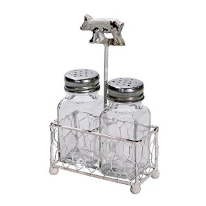 Chippy Pig Weather Vane Holder withガラスSalt and Pepper Shaker Set