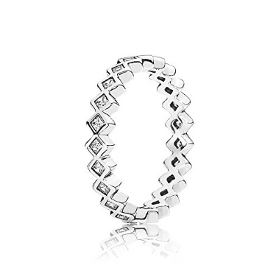 PANDORA Ringsパンドラリング角型キュービックジルコニア女性永遠結婚記念日-Square Eternity Silver Ring with Cubic Zirconia 190944CZ...