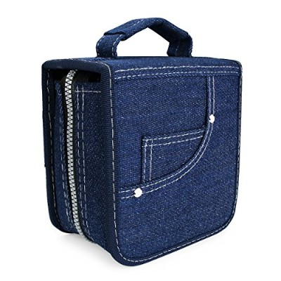 FORE Legend Denim CD/DVD/Blu-Ray Disc 60pcs Wallet Case for CD/DVD Carrying Storage 60 Capacity...