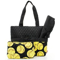 Quilted Black And Yellow Softball Sports Theme Print Monogrammable 3 Piece Diaper Bag With Changing...