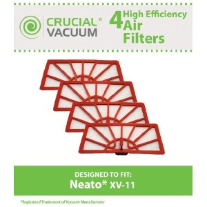 4 Neato XV-11 Air Filters Fits Neato XV-11 XV11 All Floor Robotic Vacuum Cleaner System; Compare to...