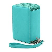 BTSKY PUレザーColored Pencil Case with compartments-72スロットHandy鉛筆バッグ大forジェル、ペンと水彩鉛筆Ordinary Pencils