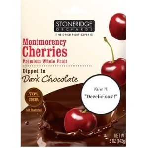 Stoneridge Orchards, Montmorency Cherries, Dipped in Dark Chocolate, (ブラックチョコレートに浸したモンモランシーチェリー5 oz...