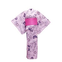 myKimono Women 's Traditional Japanese着物ローブ浴衣443with Obi Belt /ピンクwith Flower Pattern