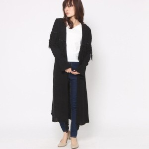 【SALE 70%OFF】ミーア プロデュースド バイ ルーミィーズ MIIA produced by Roomy's OUTLET フリンジロングカーデ (ブラック)