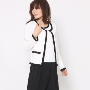 【SALE 63%OFF】ルーミィーズ  Roomy's OUTLET 配色ニットアンサンブル (オフホワイト)