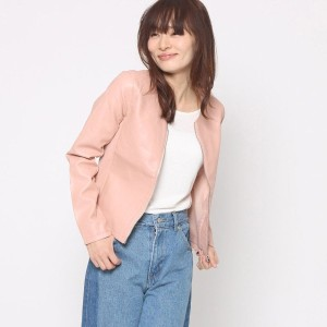 【SALE 55%OFF】ルーミィーズ  Roomy's OUTLET 合皮ノーカラージャケット (ピンク)