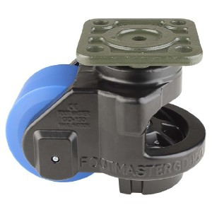 FOOTMASTER GD-150F-BLK MC Nylon Wheel and Aluminum Pad Leveling Caster, 3300 lbs, Top Plate 3 15/16...