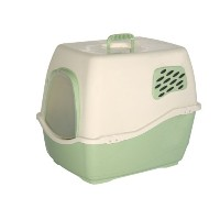 Marchioro Bill 2F Covered Cat Litter Pan with Filter, Small/Medium, Tan/Jade Green by Marchioro