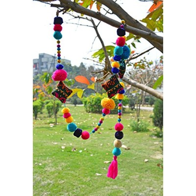 Pompom garland, multicoloured, handmade, gift, bohemian, home decor, size 1 mt