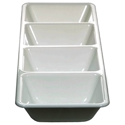 (White) - Creative Converting Form and Function Rectangular 4 Compartment Plastic Tray, 41cm, White