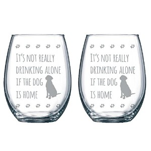 The Surfer 'sテーブルIt 's Not Really Drinking Alone場合の犬はホーム21オンス2ガラスエッチングStemless Wineglassセット|...