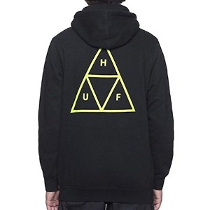 HUF Triple Triangle Pullover Hoodie Black/Lime Green M パーカー 並行輸入品