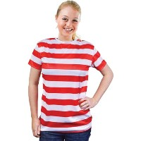 Bristol Novelty Striped Ladies Shirt. Red/White. Adult Costumes - Women's - One Size.