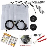 WATERCARBON Carbon Fiber Seat Heater Kit Hi/Lo Setting 3 Years USA Warranty 2 Seats And Hog Rings...