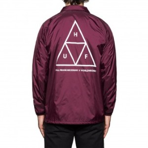HUF Triple Triangle Coaches Jacket Maroon M コーチジャケット