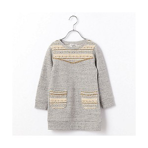 【SALE(三越)】 COMME CA FILLE/コムサ・フィユ  幾何学柄ジャガードワンピース(0526RC16) グレー 【三越・伊勢丹/公式】 キッズファッション~~その他