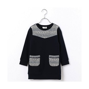 【SALE(伊勢丹)】 COMME CA FILLE/コムサ・フィユ  幾何学柄ジャガードワンピース(0526RC16) ネイビー 【三越・伊勢丹/公式】 キッズファッション~~その他