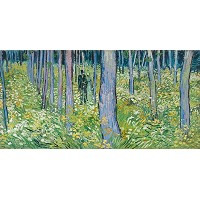 Undergrowth with 2figures、1888年18x 36ジクレーアートプリントby Vincent Van Gogh