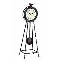 Creative Co-op Metal Mantle Clock with Pendulum and Bird [並行輸入品]