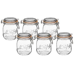 Le Parfait FrenchガラスCanning Jar with 85 mmガスケットと蓋 – 3 / 4 ( 75 ) Liter .75 Liter (Pack of 6) クリア