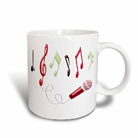 3dローズAnne Marie Baugh–音楽–レッド、バーガンディ、ホワイトMusical Notes with aマイクIllustration–マグカップ 11-oz Two...