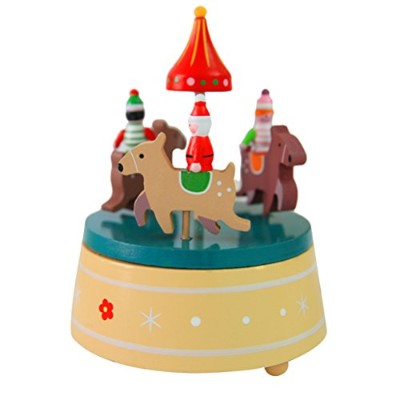 Zhhlaixing 高品質 Wooden Christmas Tree Rotating Music Box Toys Creative Christmas Gift Decoration