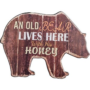 Old Bear Shaped Wood Word Sign