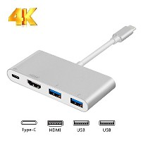 USB3.1 Type-Cハブ MINLUG 3in1 USB-C to HDMI/ 2xUSB3.0/ Type C PD充電 4K*2K 変換アダプター ハブ Macbook 2017/2016...