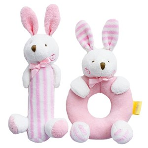 SHILOH? Baby Rattle Plush Toy 7.2in*3.2in Pink Rabbits by Shiloh