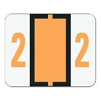 Single Digit End Tab Labels, Number 2, Light Orange-on-White, 500/Roll (並行輸入品)