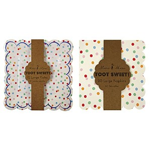 Meri Meri Large Spotty Toot Sweet Plates and Napkins (12 plates and 20 napkins) by Meri Meri