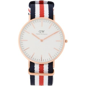 メンズ DANIEL WELLINGTON 0102DW CLASSIC CANTERBURY WATCH ROSE GOLD 40MM 腕時計 ホワイト