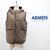【BASIC】アーメン レディース WOOL CHECK REVERSIBLE HOODED VEST[NAM0971WC]