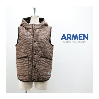 ARMEN アーメン レディース WOOL CHECK REVERSIBLE HOODED VEST[NAM0971WC]【BASIC】