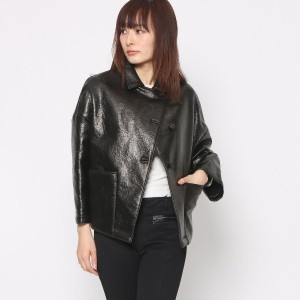 【SALE 70%OFF】ニューヨーク インダストリー  New York Industrie Outlet レザー風ショートコート (ブラック)