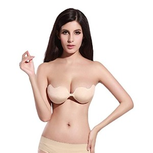 BOOLAVARD Women's Silicone Bra Adhesive Bras Push Up Party Stick on Bra