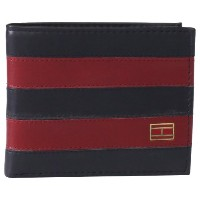 Tommy Hilfiger トミーフィルフィガー 財布 メンズ 財布 Men's Leather Ranger Pass case Wallet (Navy/Burgundy)